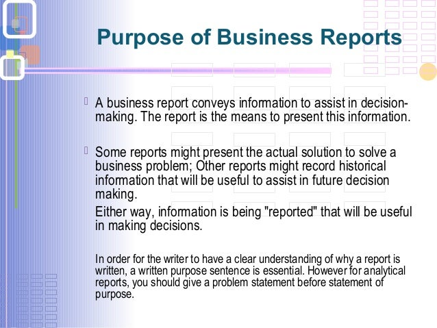 Business report writing ppt