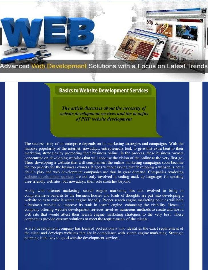 Basics to Website Development Services