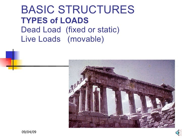 BASIC STRUCTURES TYPES of LOADS Dead Load  (fixed or static) Live Loads  (movable)