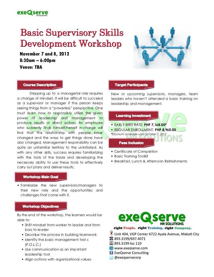 Basic supervisory skills development workshop revised