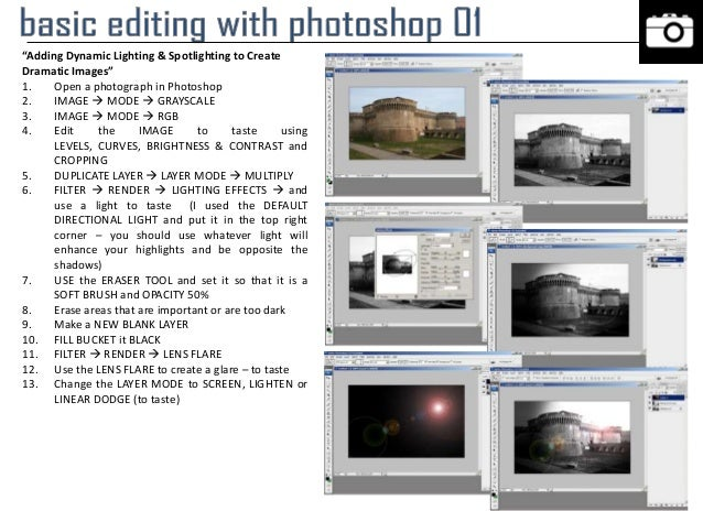 """""""Adding Dynamic Lighting & Spotlighting to Create Dramatic Images"""" 1. Open a photograph in Photoshop 2. IMAGE  MODE  GRA..."""