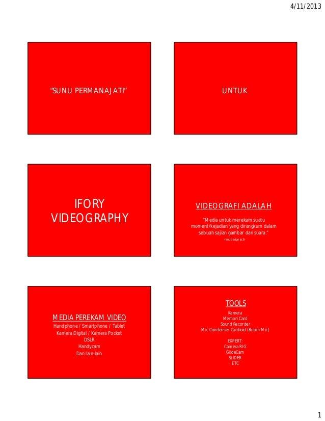 "4/11/20131""SUNU PERMANAJATI"" UNTUKIFORYVIDEOGRAPHYVIDEOGRAFI ADALAH""Media untuk merekam suatumoment/kejadian yang dirangku..."