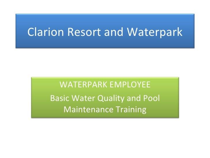 Basic water quality & pool mainteance training