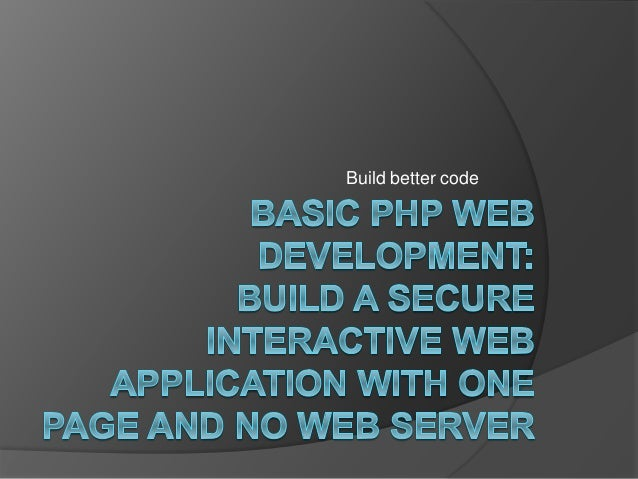 Basic web development in php