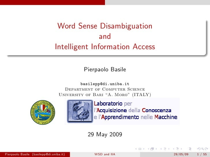 Word Sense Disambiguation                                               and                                Intelligent Inf...