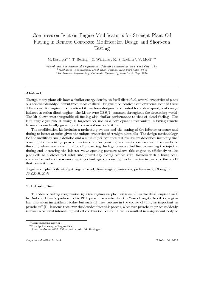 Compression Ignition Engine Modications for Straight Plant Oil    Fueling in Remote Contexts: Modication Design and Short-...