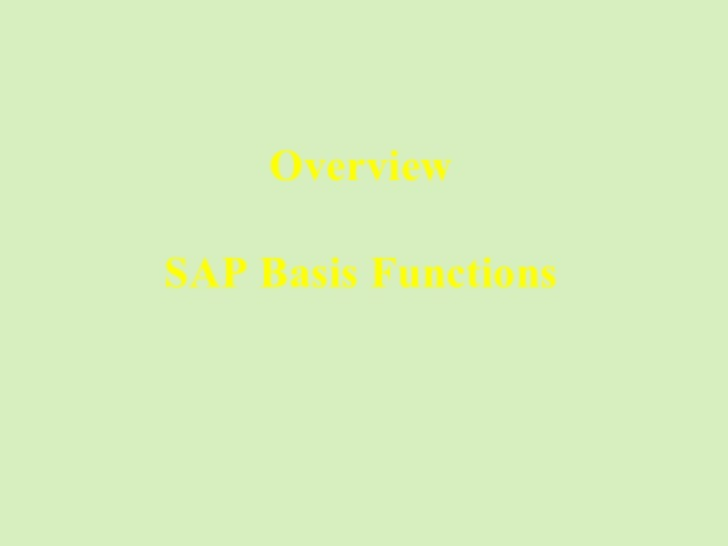 Overview SAP Basis Functions [email_address]