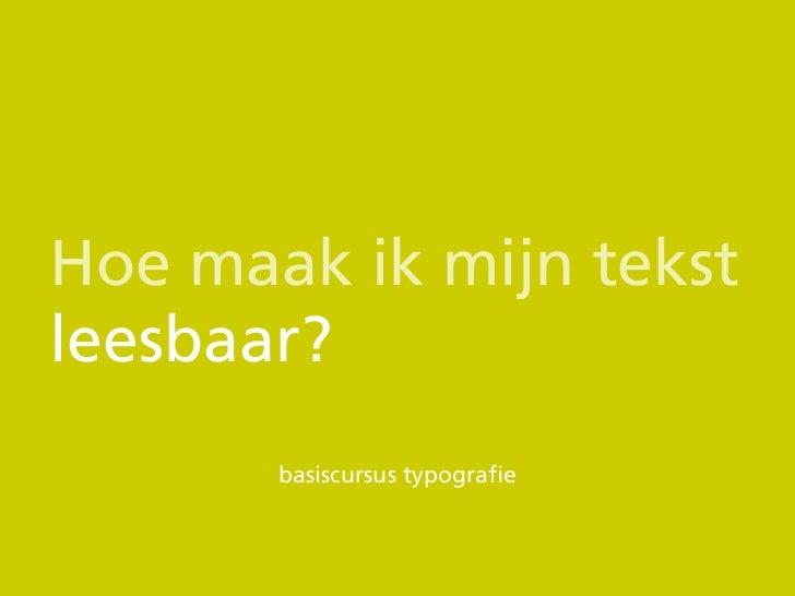 Basiscursus typografie