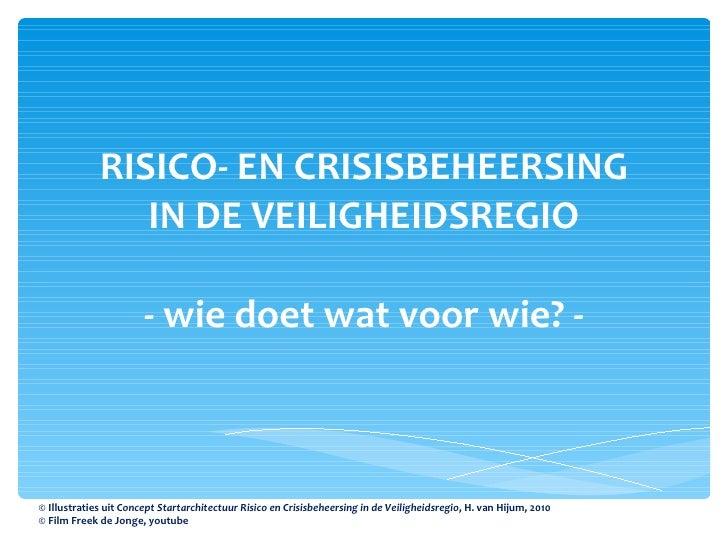 RISICO- EN CRISISBEHEERSING IN DE VEILIGHEIDSREGIO - wie doet wat voor wie? - © Illustraties uit  Concept Startarchitectuu...