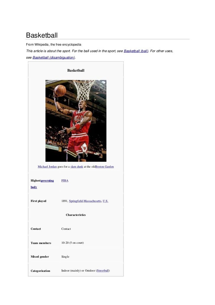 BasketballFrom Wikipedia, the free encyclopediaThis article is about the sport. For the ball used in the sport, see Basket...