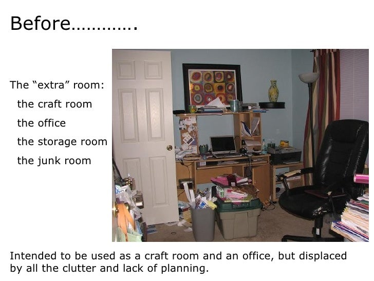 "Before…………. The ""extra"" room: the craft room the office the storage room the junk room Intended to be used as a craft room..."