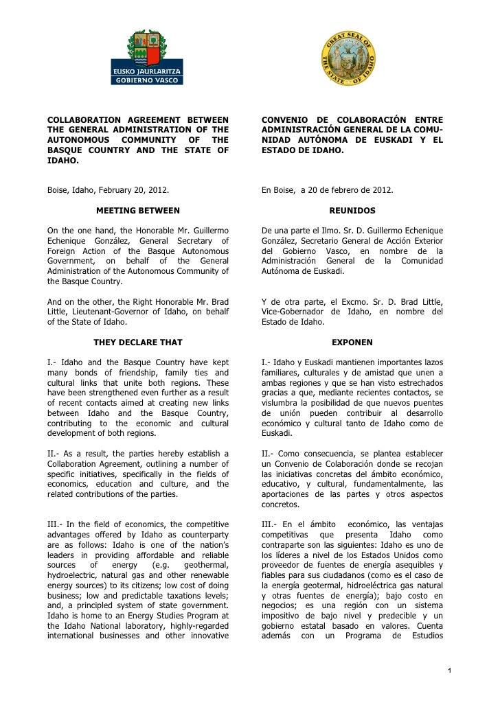 COLLABORATION AGREEMENT BETWEEN                       CONVENIO DE COLABORACIÓN ENTRETHE GENERAL ADMINISTRATION OF THE     ...