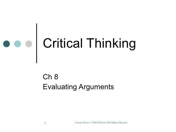 Critical Thinking Ch 8 Evaluating Arguments