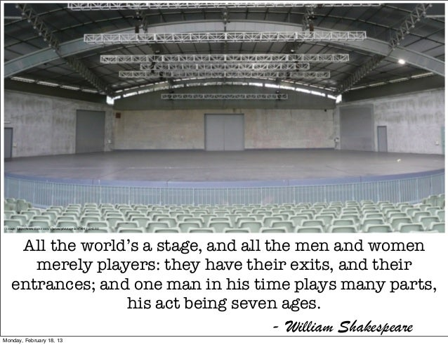 image: http://www.flickr.com/photos/pfctdayelise/3647154152     All the world's a stage, and all the men and women       me...
