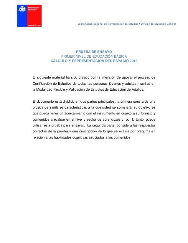 Coordinación Nacional de Normalización de Estudios / División de Educación General PRUEBA DE ENSAYO PRIMER NIVEL DE EDUCAC...