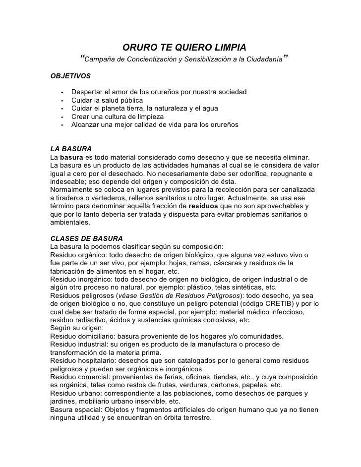 """ORURO TE QUIERO LIMPIA          """"Campaña de Concientización y Sensibilización a la Ciudadanía"""" OBJETIVOS     -   Despertar..."""