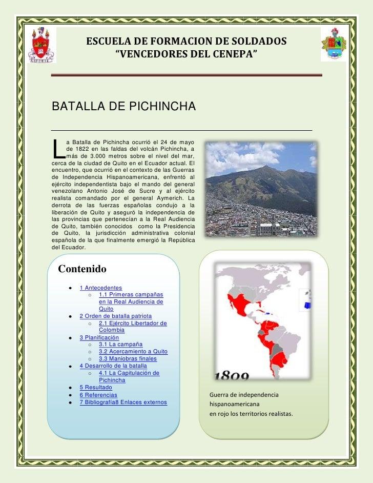 BATALLA DE PICHINCHA<br />3105785325755<br />L<br />Guerra de independencia hispanoamericanaen rojo los territorios realis...