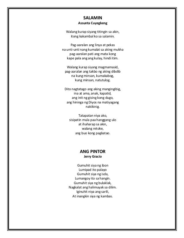 tula tungkol sa bayan Mga tula / poems / poemas  sa kalayaan ng aking bayan sa isip ko, di yata natatamo 'tong kalayaan ng aking bayang sinilangan.
