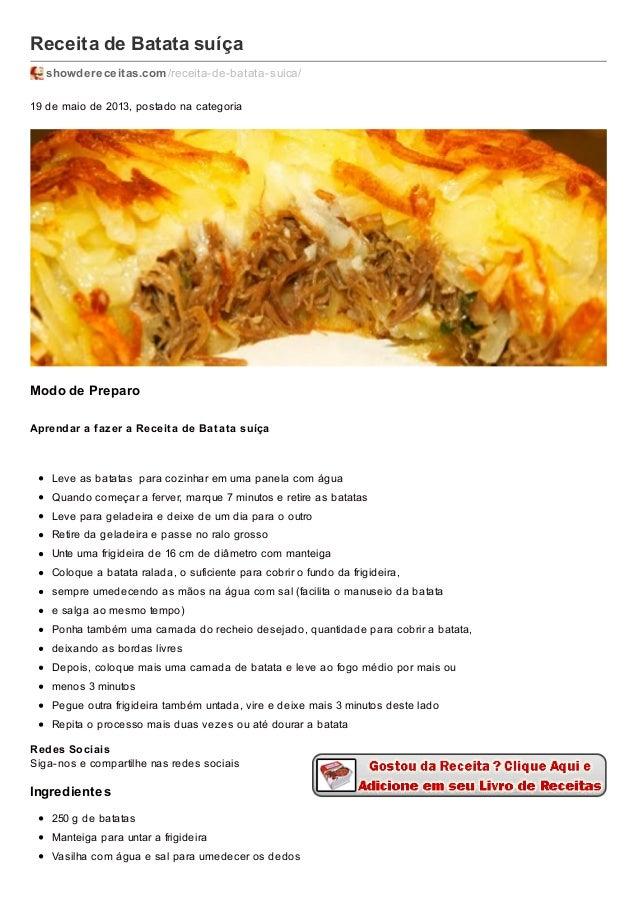 Receita de Batata suíça showdereceitas.com/receita-de-batata-suica/ 19 de maio de 2013, postado na categoria Modo de Prepa...