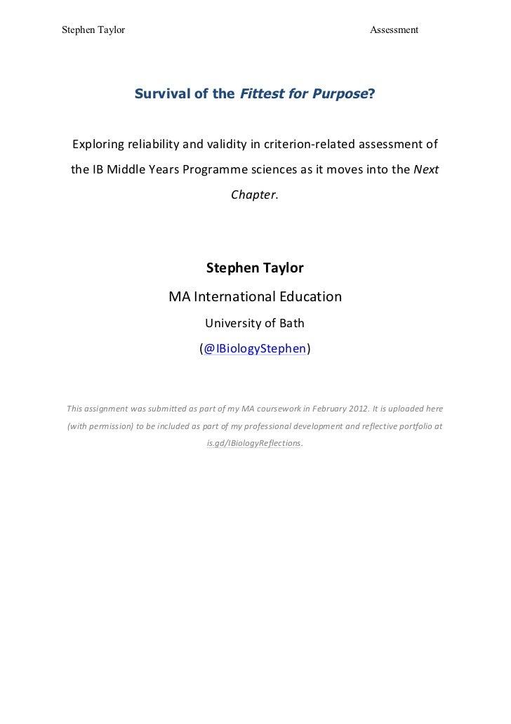 Assessment Assignment: Bath MA International Education