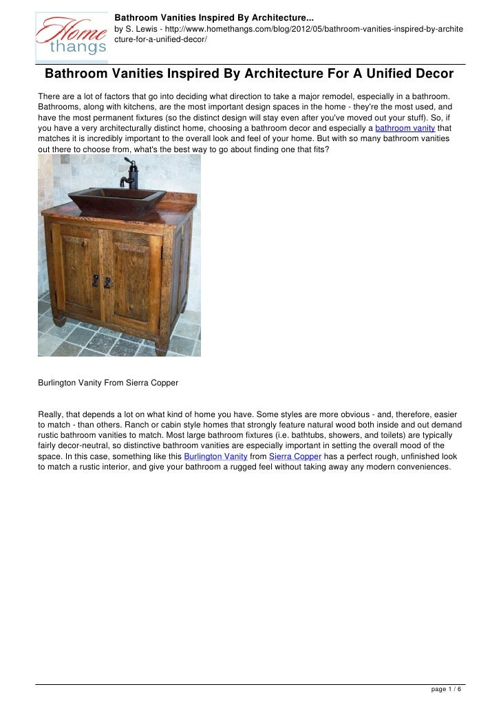 Bathroom Vanities Inspired By Architecture...                     by S. Lewis - http://www.homethangs.com/blog/2012/05/bat...
