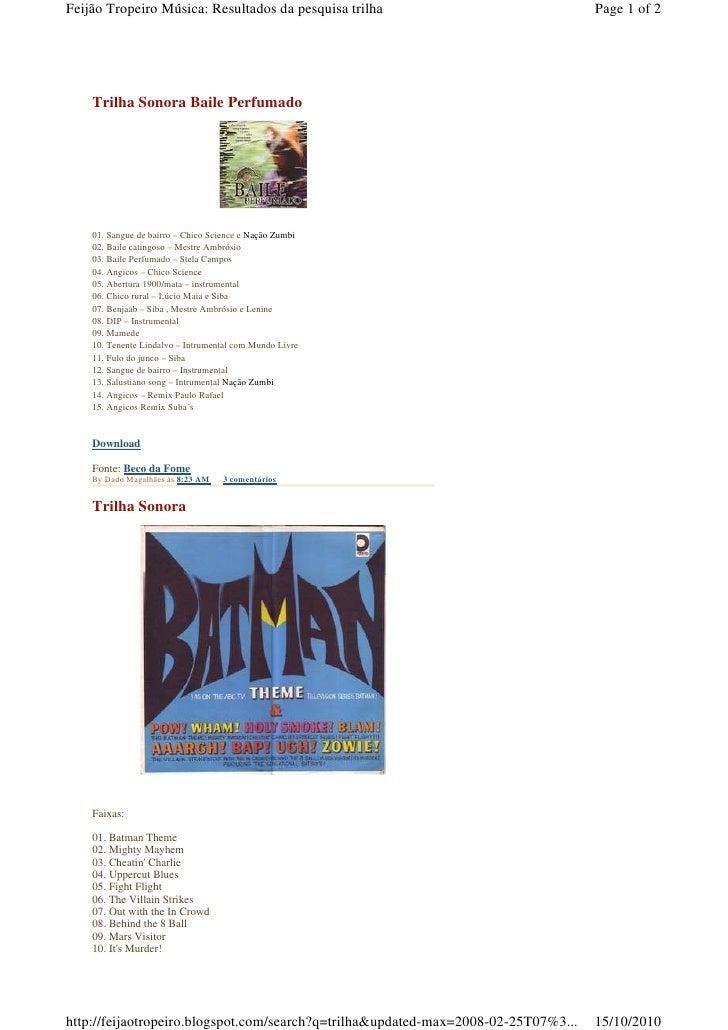 Feijão Tropeiro Música: Resultados da pesquisa trilha                               Page 1 of 2         Trilha Sonora Bail...