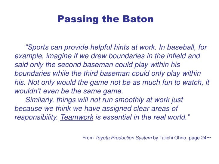 "Passing the Baton      ""Sports can provide helpful hints at work. In baseball, for example, imagine if we drew boundaries ..."