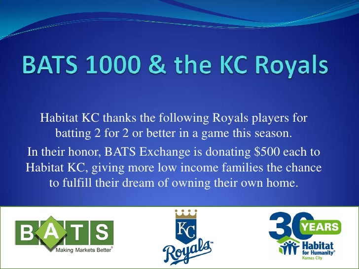 BATS 1000 & the KC Royals<br />Habitat KC thanks the following Royals players for batting 2 for 2 or better in a game this...