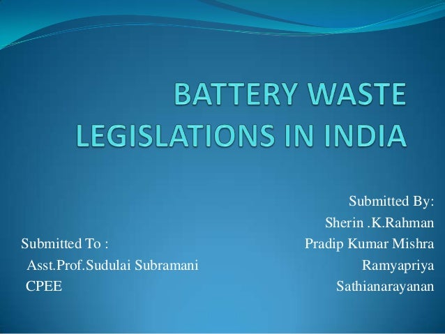 Battery waste handling rules in India