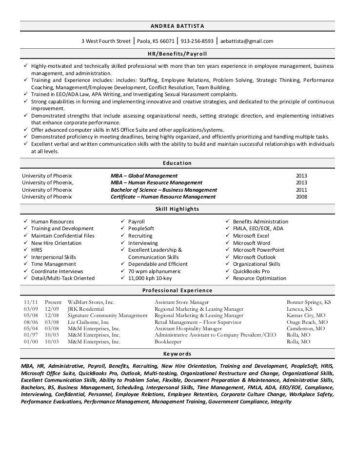 human resources resume - Human Resource Resume
