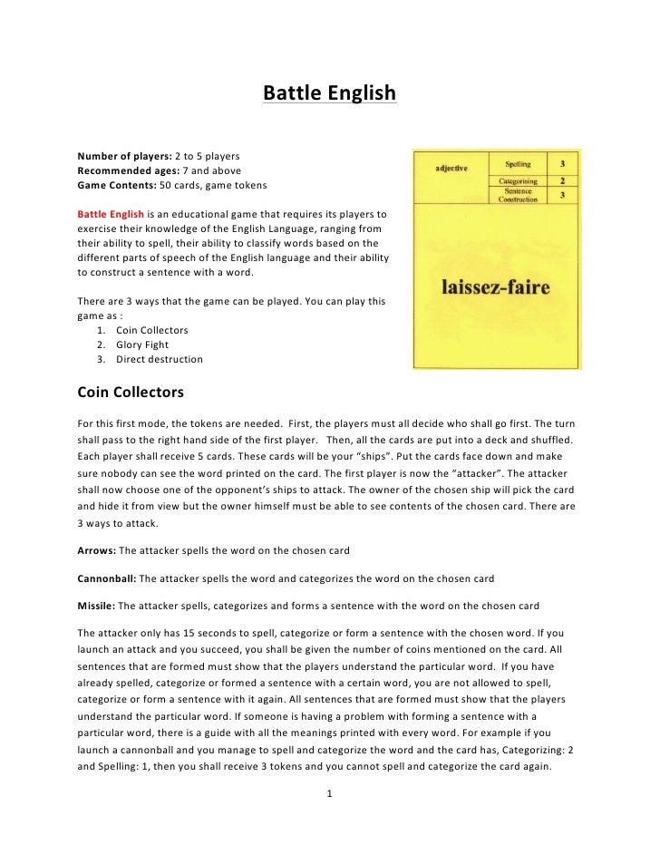 Battle English Instructions