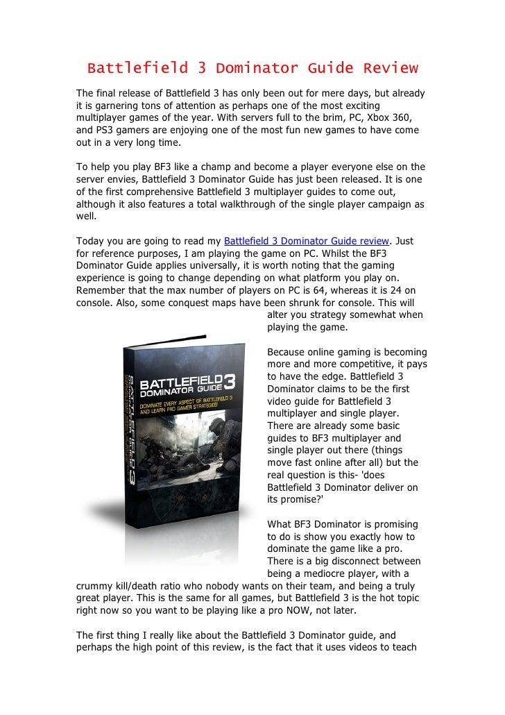 Battlefield 3 Dominator Guide Review