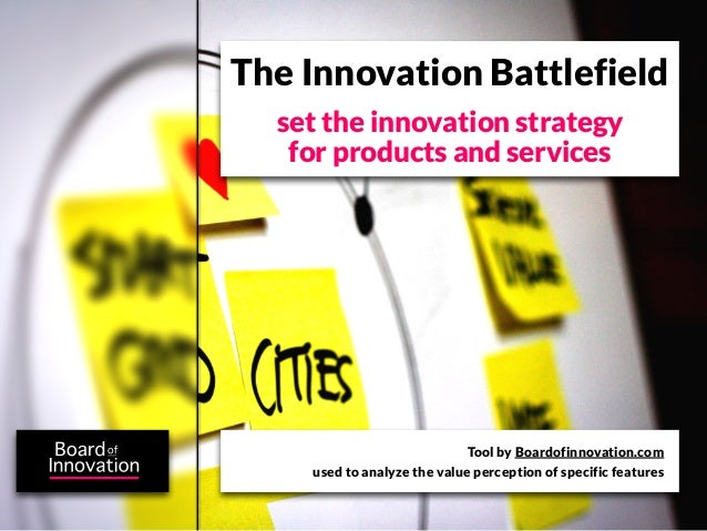The Innovation Battlefield  set the innovation strategy   for products and services                             Tool by Bo...