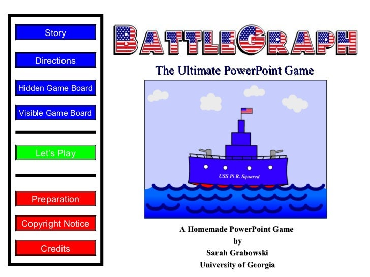 A Homemade PowerPoint Game  by Sarah Grabowski University of Georgia Copyright Notice Let's Play Directions Story Credits ...