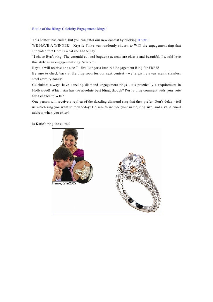 Battle of the Bling: Celebrity Engagement Rings!  This contest has ended, but you can enter our new contest by clicking HE...