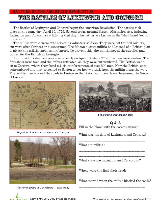 Battles of-lexington-and-concord-worksheet