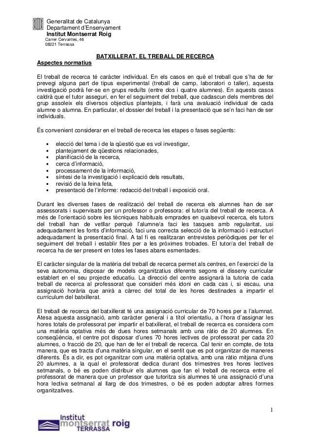 Generalitat de Catalunya   Departament d'Ensenyament   Institut Montserrat Roig   Carrer Cervantes, 46   08221 Terrassa   ...