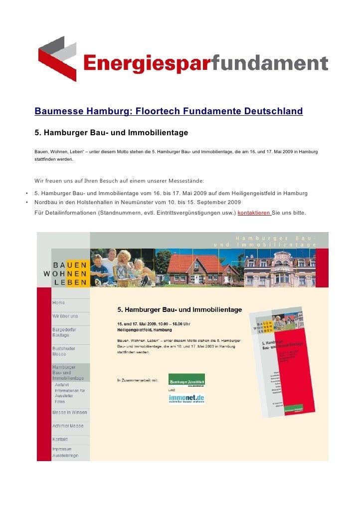 """Baumesse Hamburg: Floortech Fundamente Deutschland      5. Hamburger Bau- und Immobilientage      Bauen, Wohnen, Leben"""" – ..."""
