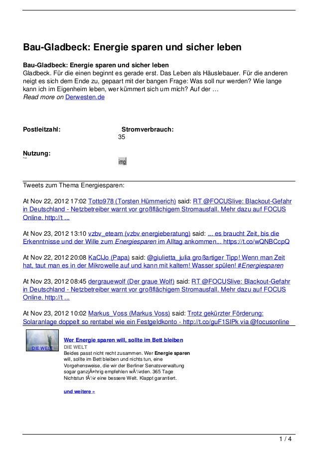 Bau-Gladbeck: Energie sparen und sicher lebenBau-Gladbeck: Energie sparen und sicher lebenGladbeck. Für die einen beginnt ...