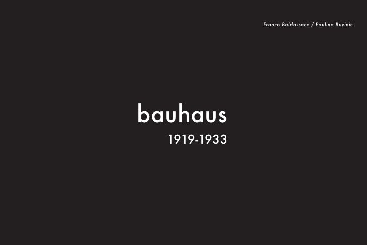 Franco Baldassare / Paulina Buvinic                                  bauhaus                                    1919-1933I...