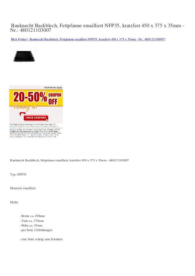 Bauknecht Backblech, Fettpfanne emailliert NFP35, kratzfest 450 x 375 x 35mm -Nr.: 480121103007Blck Friday!- Bauknecht Bac...