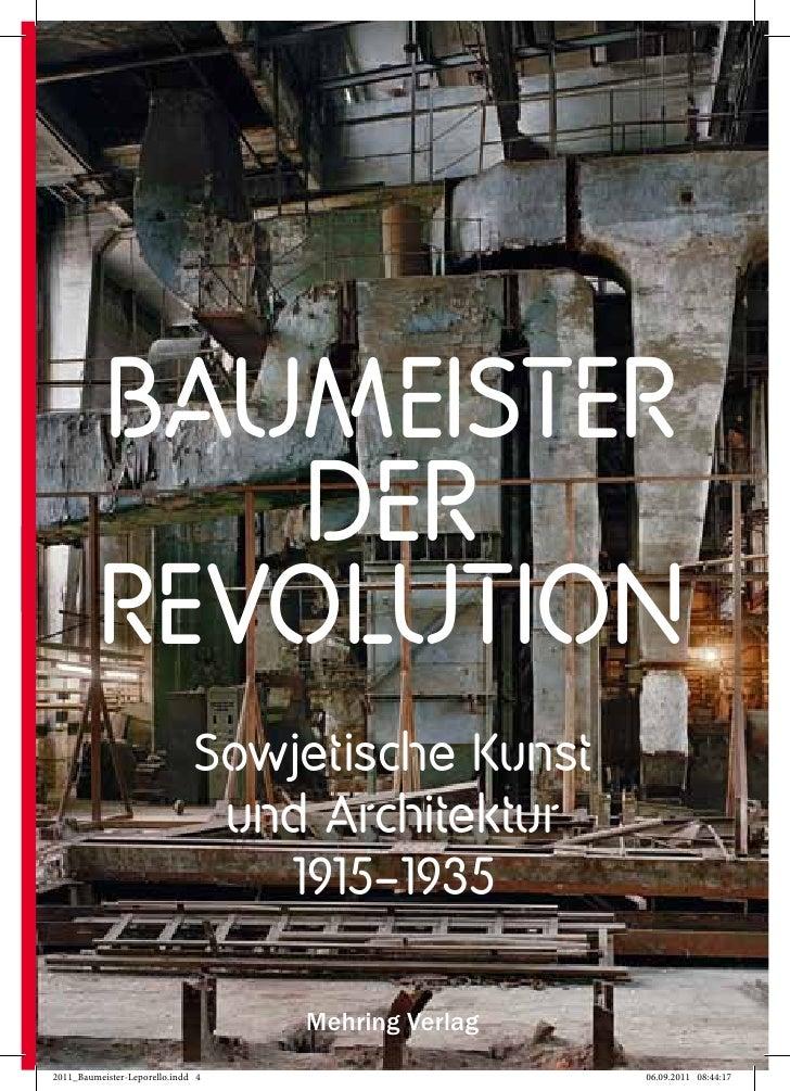 BAUMEISTER   DERREVOLUTION Sowjetische Kunst  und Architektur    1915–1935     Mehring Verlag
