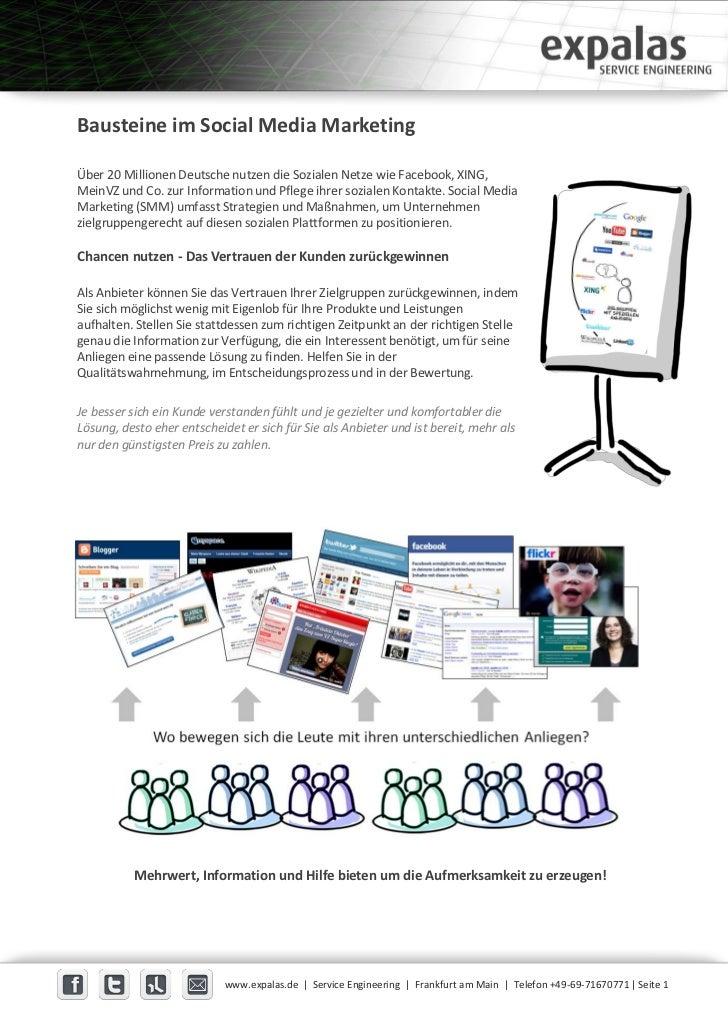Bausteine im Social Media MarketingÜber 20 Millionen Deutsche nutzen die Sozialen Netze wie Facebook, XING,MeinVZ und Co. ...