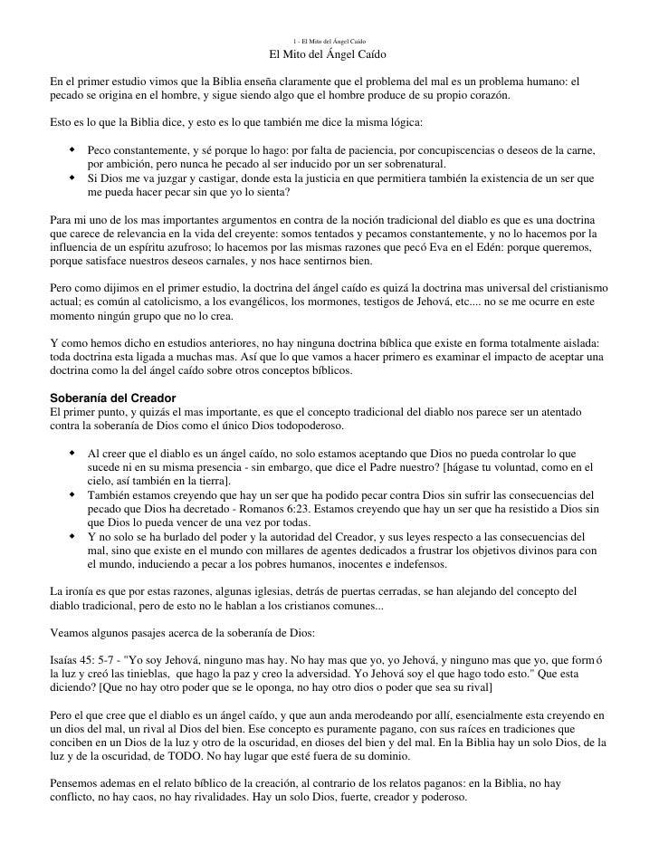 1 - El Mito del Ángel Caído                                                 El Mito del Ángel Caído  En el primer estudio ...