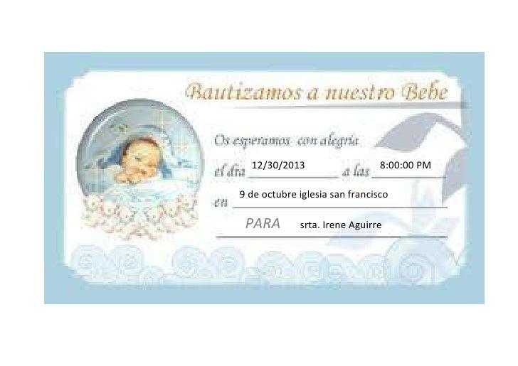 12/30/2013                    8:00:00 PM9 de octubre iglesia san francisco PARA        srta. Irene Aguirre