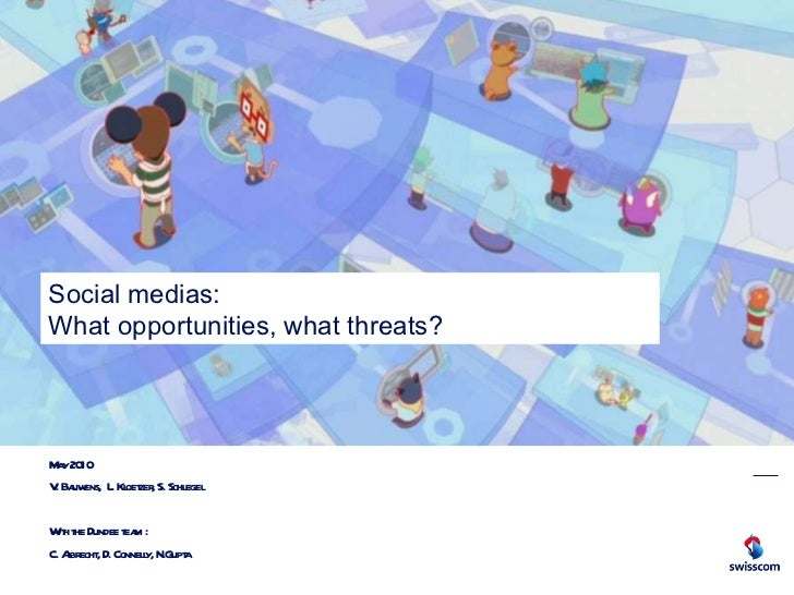 Social medias:  What opportunities, what threats? May 2010 V. Bauwens,  L. Kloetzer, S. Schlegel With the Dundee team : C....
