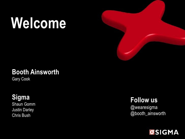 Welcome<br />Booth AinsworthGary CookSigmaShaun GommJustin DarleyChris Bush<br />Follow us@wearesigma@booth_ainsworth<br />