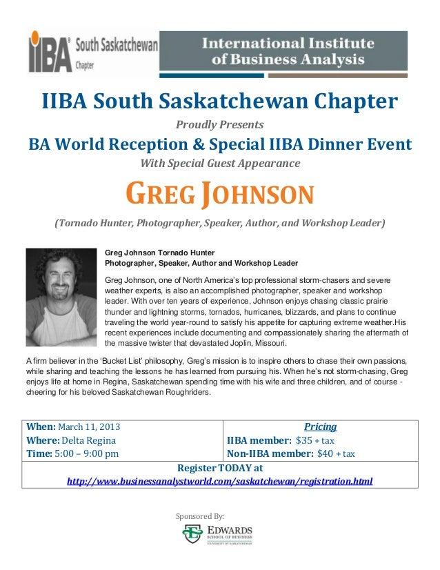 IIBA South Saskatchewan Chapter                                            Proudly PresentsBA World Reception & Special II...