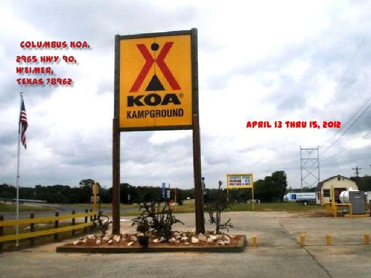 April 13 thru 15, 2012