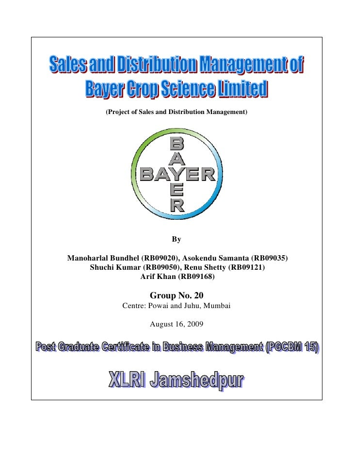 Sales and Distribution Management of Bayer Crop Science Limited